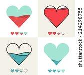heart shape with filling meter. ... | Shutterstock .eps vector #214298755