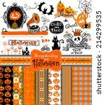 halloween vintage objects  ...   Shutterstock .eps vector #214299535