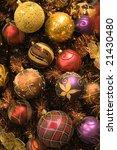 Christmas decorations background - stock photo