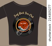 surf rock fan club tee shirt... | Shutterstock .eps vector #214305277