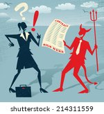 Abstract Businesswoman signs a Deal with the Devil. Great illustration of Retro styled Abstract Businesswoman who is deciding whether to sign away her life in a deal with the devil. - stock vector