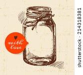 rustic mason canning jar.... | Shutterstock .eps vector #214318381
