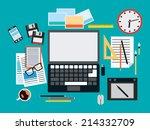 designer workplace flat vector... | Shutterstock .eps vector #214332709