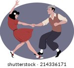 young couple dressed in late... | Shutterstock .eps vector #214336171