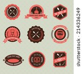 vector set of vintage badge... | Shutterstock .eps vector #214336249