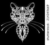stylized patterned face cat.... | Shutterstock .eps vector #214345669