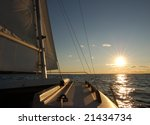 sailboat sailing into the sun   ... | Shutterstock . vector #21434734