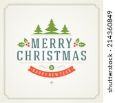 christmas retro typographic and ... | Shutterstock .eps vector #214360849