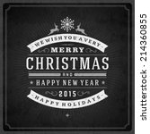 christmas retro typographic and ... | Shutterstock .eps vector #214360855