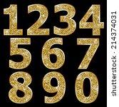 golden metallic shiny numbers  | Shutterstock .eps vector #214374031