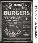 burger poster stylized like... | Shutterstock .eps vector #214379431
