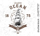 vintage label atlantic ocean  ... | Shutterstock .eps vector #214379737