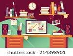 home office desk   flat design  ... | Shutterstock .eps vector #214398901