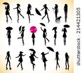 set of female silhouettes in... | Shutterstock .eps vector #214421305