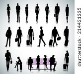 set of people silhouettes in... | Shutterstock .eps vector #214421335