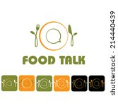 food talk illustration and icon ... | Shutterstock .eps vector #214440439
