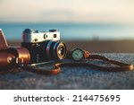 photo of vintage camera at... | Shutterstock . vector #214475695