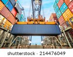 container. industrial crane... | Shutterstock . vector #214476049