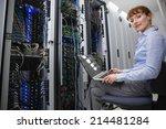 technician sitting on swivel... | Shutterstock . vector #214481284
