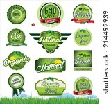 natural eco green label... | Shutterstock .eps vector #214492939