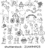 doodle wedding set  | Shutterstock .eps vector #214494925