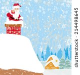 santa claus stuck in the chimney | Shutterstock .eps vector #214498645