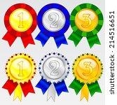 gold  silver and bronze award... | Shutterstock .eps vector #214516651