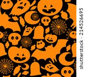cute vector halloween seamless... | Shutterstock .eps vector #214526695