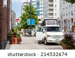 Denver, Colorado, USA-August 31, 2014. Motorhome parked on the street of downtown Denver. - stock photo