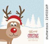 reindeer snowy background | Shutterstock .eps vector #214533169