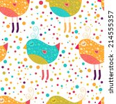 holiday pattern with birds ... | Shutterstock . vector #214555357