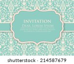 invitation or wedding card with ... | Shutterstock .eps vector #214587679