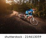 mountain bike cyclist riding... | Shutterstock . vector #214613059