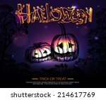 shining halloween typographical ... | Shutterstock .eps vector #214617769