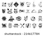 food  restaurant and silverware ... | Shutterstock .eps vector #214617784