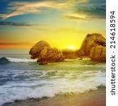 Sea Landscape With Rocky Island ...