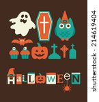 halloween objects set. vector... | Shutterstock .eps vector #214619404