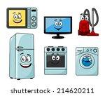 Постер, плакат: Cartoon household appliances set