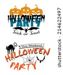 halloween party invitation with ... | Shutterstock .eps vector #214622497