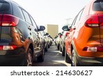 a row of new cars parked at a... | Shutterstock . vector #214630627