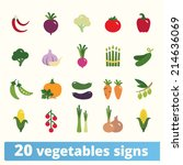 vegetables icons  vector set of ... | Shutterstock .eps vector #214636069