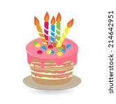 birthday cake with burning... | Shutterstock .eps vector #214642951