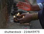 hand holding lantern during... | Shutterstock . vector #214645975