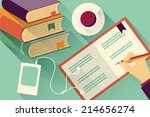 writing into notebook...   Shutterstock .eps vector #214656274