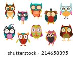 set of owls | Shutterstock .eps vector #214658395