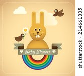 Baby shower illustration with comic bunny. Vector illustration. - stock vector