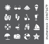 summer beach icon set  vector... | Shutterstock .eps vector #214671679