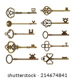 old brass key against a white... | Shutterstock . vector #214674841