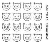 cat faces.   Shutterstock .eps vector #214677049