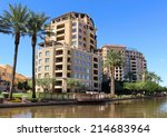 apartments on river walk with... | Shutterstock . vector #214683964